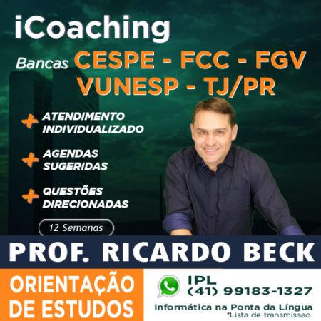 iCoaching – Orientação de Estudos || Bancas: CESPE ou FCC ou FGV ou VUNESP ou TJ-PR
